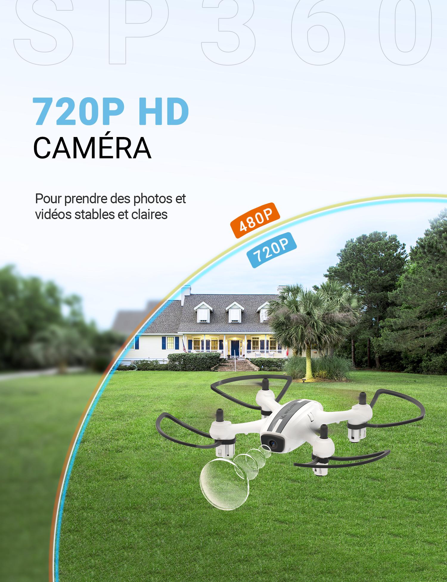 Contr/ôle par Geste pour D/ébutants et Enfants Vol de Trajectoire Mode sans T/ête Induction de Gravit/é 360/° Flips Maintien daltitude SNAPTAIN SP360 Mini Drone avec Cam/éra 720P FPV